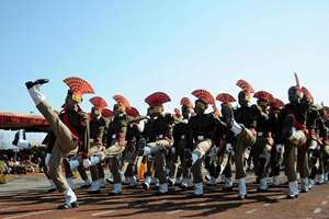 New recruits of the Border Security Force (BSF) march during their passing out parade ceremony in Humhama on the outskirts, of Srinagar.