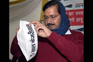 Aam Aadmi Party convener Arvind Kejriwal during the release of the party manifesto for Delhi Assembly election 2015, in New Delhi.