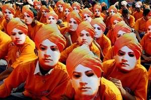 School students participate in a grand Swami Vivekananda Walkathon at Marina beach in Chennai.