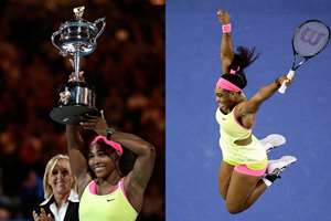 Serena Williams of the U.S. celebrates after defeating Maria Sharapova of Russia, 6-3 7-6 (7-5), in their women's singles final at the Australian Open tennis championship in Melbourne, Australia.