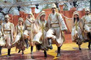 Lebanese artists perform during a press preview for the 29th International Crafts Mela in Surajkund.