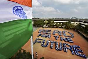 School Students make a formation in the shape of READ FOR FUTURE at a school in Chennai.