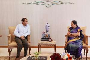 Union Railway Minister Suresh Prabhu with Gujarat Chief Minister Anandiben Patel at a meeting for speedy implemenation of railway projects in Gandhinagar.