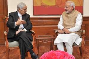 Mufti Mohammad Sayeed meeting the Prime Minister, Narendra Modi, in New Delhi.
