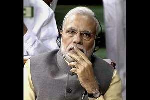 Prime Minister Narendra Modi during presentation of the Union Budget 2015-16 in the Lok Sabha in New Delhi.