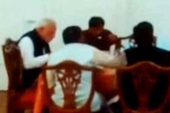 TV Grab: Prime Minister Narendra Modi takes lunch at the Parliament canteen, in New Delhi.