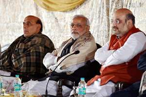 Prime Minister Narendra Modi with Home Minister Rajnath Singh and BJP President Amit Shah during the meeting with Utter Pradesh BJP MPs  in New Delhi.