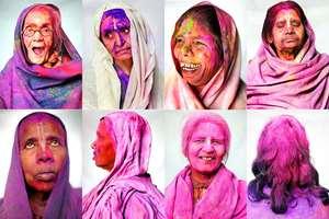 Combo: Widows pose for a portrait after celebrating Holi, at the Meera Sahabhagini Widow Ashram in Vrindavan.