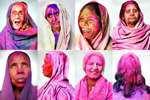 Combo: Widows pose for a portrait after celebrating Holi, at the Meera Sahabhagini Widow Ashram in Vrindavan.