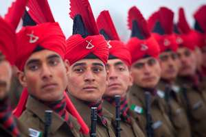 Newly graduated soldiers of the Jammu and Kashmir Light Infantry participate in their commencement parade at a military base on the outskirts of Srinagar.