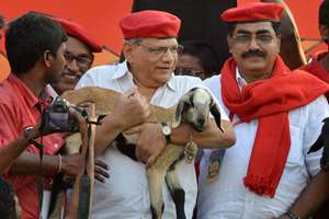 CPI(M) leader Sitaram Yechury carries a goat during the party's Telangana state conference, in Hyderabad.