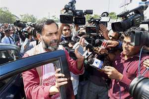 AAP leader Yogendra Yadav arrives to attend the party's national executive, in New Delhi.