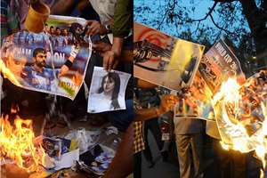 Combo photos show angry cricket supporters burning posters of Virat Kohli and actress Anushka Sharma, in Ahmedabad and the Indian team, in Agartala as the team lost to Australia in the World Cup semi final clash.