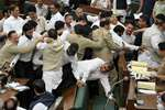 Jammu and Kashmir National Conference MLAs protest in the Assembly during the Budget Session, in Jammu.