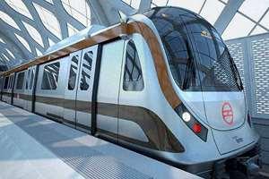 A Metro train manufactured in India, in New Delhi.