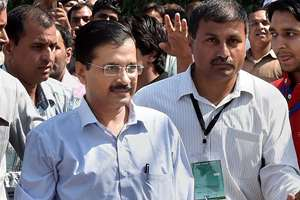 Delhi CM and AAP convener Arvind Kejriwal arrives to attend the party's national executive at Kapashera in New Delhi.