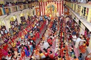 A view of Kumari Puja at Dakhhineswar Ramakrishna Aadahyapitih on the occasion of Ram Navami festival in Kolkata.