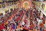 A view of Kumari Puja at Dakhhineswar Ramakrishna Aadahyapitih on the occasion of Ram Navami festival in Kolkata.