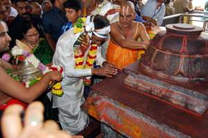 K. Chandrasekhar Rao visits the Bhadrachalam temple, in Telangana.