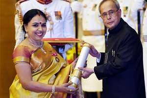 President Pranab Mukherjee presents Padma Bhushan to Sudha Ragunathan during Padma Awards 2015 function at Rashtrapati Bhawan, in New Delhi.