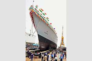 Indian Navy's new destroyer, INS Visakhapatnam, with enhanced capability to operate in nuclear, biological and chemical atmosphere, during its launch at the Mazagon dock in Mumbai.