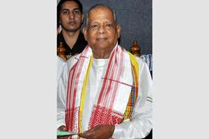 File photo of former Governor of Assam J B Patnaik who died at a hospital following a cardiac arrest, few hours after he offered prayers at Lord Venkateswara temple at Tirumala.