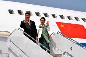 Chinese President Xi Jinping arrives with his wife Peng Liyuan at Nur Khan airbase in Islamabad, Pakistan. Xi arrived for a two-day visit during which the two sides will launch an ambitious $45 billion economic corridor linking Pakistan's port city of Gwadar with western China.