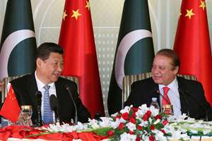 Visiting Chinese President Xi Jinping, left and Pakistan's Prime Minister Nawaz Sharif attend a press conference after their talks in Islamabad, Pakistan. Xi is on a two-day visit in which he is expected to announce $45 billion worth of investment projects in energy and infrastructure development.