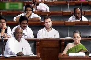 Congress President Sonia Gandhi and party leaders Mallikarjun Kharge, Rahul Gandhi and other members in the Lok Sabha in New Delhi.