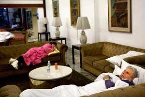 Hotel guests sleep at the lobby of Annapurna Hotel in Kathmandu, Nepal.