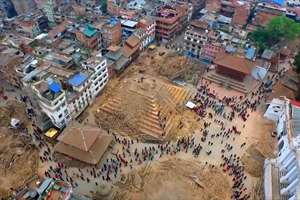 Video grab from a drone shows devastation caused by the earthquake in Kathmandu, Nepal.