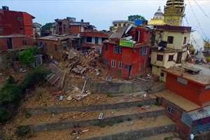 Video grab from a drone shows devastation caused by the earthquake, in Nepal.