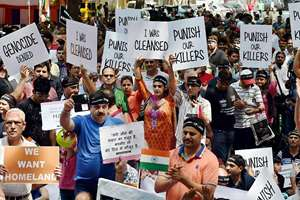 Kashmiri Pandits protest demanding their involvement before any decision on their return to the Valley, in New Delhi.