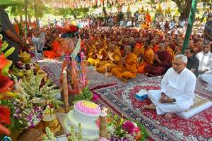 Bihar Chief Minister Nitish Kumar offering prayers under Bodhi tree during Buddha Jayanti celebration at Mahabodhi Temple, in Bodhgya.