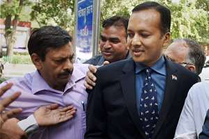 Congress leader and industrialist Naveen Jindal arrives at Patiala House court in New Delhi in connection with coal scam. Congress leader and industrialist Naveen Jindal, former Jharkhand Chief Minister Madhu Koda, ex -Minister of State for Coal Dasari Narayan Rao and seven others were granted bail by a special court which asked them not to tamper with evidence or influence witnesses.