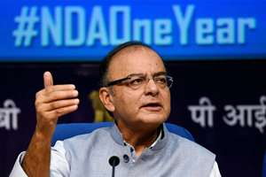 Union Minister for Finance, Corporate Affairs and Information & Broadcasting, Arun Jaitley addressing the media on one year of Prime Minister Narendra Modi's government, in New Delhi.