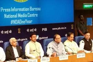 Arun Jaitley, Cabinet Ministers present report on completion of one year of Modi  Government in New Delhi.