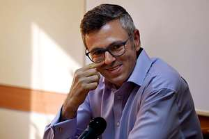 Former Jammu and Kashmir Chief Minister Omar Abdullah interacts with journalists in New Delhi.