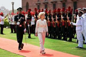 German Defence Minister Ursula von der Leyen inspects guard of honour at  South Block, in New Delhi.