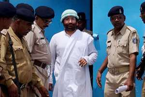 Narayan Sai is released after he got temporary bail for three weeks from the Gujarat High Court to attend to his ailing mother, in Surat.