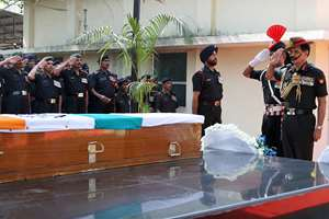 The Chief of Army Staff, General Dalbir Singh paying homage to mortal remains of Sep Dharma Ram of 1 Rashtriya Rifles, at Base Hospital, in New Delhi.