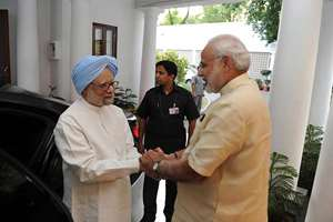 @narendramodi on facebook: Very happy to meet Dr. Manmohan Singh ji & welcome him back to 7RCR. We had a great meeting.