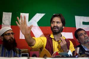 Jammu Kashmir Liberation Front (JKLF) chairman Yasin Malik speaks during a press conference in Srinagar. Malik said that he along with his party members would court arrest to protest the restrictions imposed against them by officials for carrying political activities.