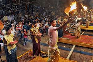 Devotees perform Aarti of river Gange on the occasion of Ganga Dussehra, in Varanasi.