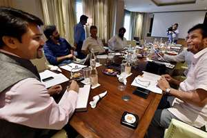 BCCI Secretary Anurag Thakur, Selection committee Chairman Sandeep Patil and members during the committee's meeting in New Delhi on Monday to select Indian squad for Zimbabwe tour.