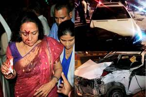 Combo image: Clockwise from left veteran actress and BJP MP Hema Malini being rushed to a hospital in Jaipur after being injured in a road accident in Dausa. Car of Malini and the alto car are seen at the accident site.