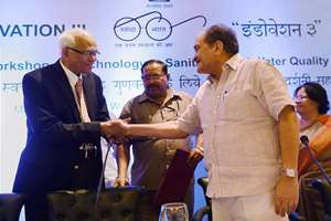 Union Minister of Rural Development Birender Singh with renowned scientist R A Mashelkar at the inauguration of Indovation-III for Drinking water and Sanitation technologies, in New Delhi.