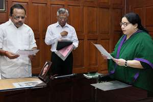 Tamil Nadu Chief Minister J. Jayalalitha taking oath as Member of Legislative Assembly at Secrataiat in Chennai. She was declared elected in Dr Radhakrishnan Nagar constituency bypoll recently.