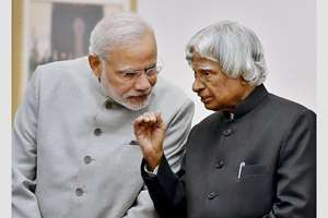 File photo of former president APJ Abdul Kalam with Prime Minister Narendra Modi, in New Delhi. Kalam passed away in Shillong. He was 83.