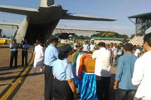 Mortal remains of Dr APJ Abdul Kalam being brought from Guwahati to Delhi by a C-130J Super Hercules aircraft of IAF.